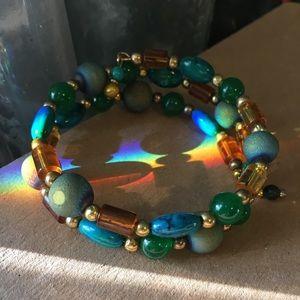Turquoise and Amber Bangle Bracelet